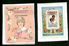 LOT 80860 USED 520 AND 461 CENTRAL AFRICA SOUVENIR SHEET PRINCESS DIANA
