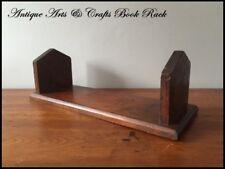 Antique Arts & Crafts Book Rack Holder Oak Wood Mission Bookends