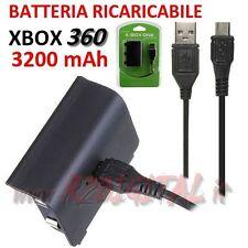 COMBO BATTERIA RICARICABILE CARICA e GIOCA MICROSOFT XBOX 360 CAVO USB JOYSTICK
