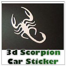 1 x  3D Silver Chrome Scorpion Car Sticker Emblem Decal Badge Fun Art UK SELLER