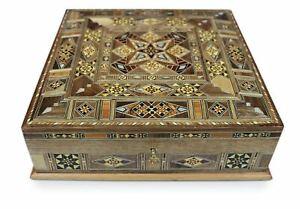 New Wood Mosaic Casket, Box, Little Box, Lockable, Damaskunst K 301