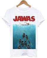 JAWAS STARWARS JAWS PARODY UNISEX WHITE T-SHIRT