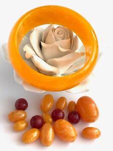 Orange Plastic Bangle with loose beads