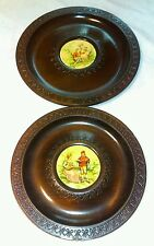 Set of Two Hanging  Decorative Wooden Wall Plates
