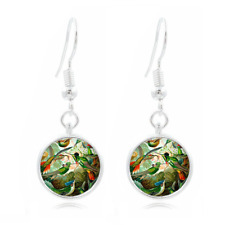 Hummingbird Photo Tibet Silver Dome Photo 16MM Glass Cabochon Long Earrings #251