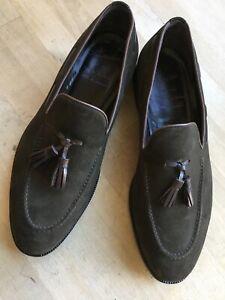 PLINIUS Tassel Loafer handgefertigt Wildleder Slipper Gr. 9/43 braun Schuhe