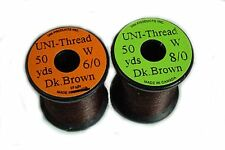1x 50 yards UNI Fil montage MARRON FONCEE  6-0/8-0 mouche fly tying thread brown