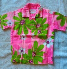 Pomare Tahiti bark cloth Hot Pink Hawaiian Shirt Vtg Littlle boys sz 4 cotton