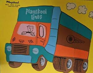 Vintage PLAYSKOOL Lines Wooden Puzzle Delivery TRUCK 18 pcs. 360-19