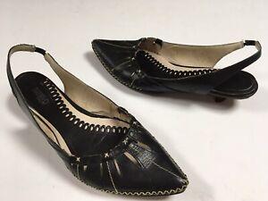 Pikolinos Black Cut-out Leather Slinback Kitten Heels Womens Sz 38 7-7.5M
