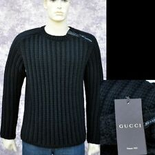 GUCCI New sz L Authentic Wool Leather Designer Mens Thick Zip Sweater Black