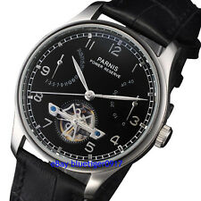 Parnis 43mm Seagull 2530 Power Reserve Movement Men's Automatic Watch Black Dial