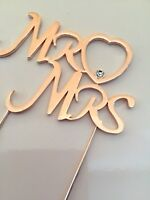 MR / MRS With Heart In ROSE GOLD Wedding Anniversary Cake Topper PICK Sugarcraft