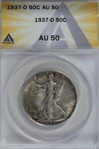 1937-D  50C ANACS AU50  Walking Liberty, Lady Liberty Half, 0.50