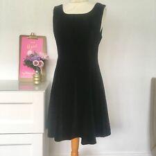 Laura Ashley Vintage 90s Velvet Irish Skater Dress UK 12  38 8 Goth Grunge H4