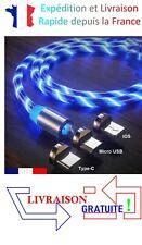 Câble USB Magnétique LED Type-C Micro USB iOS iPhone  [Bleu]