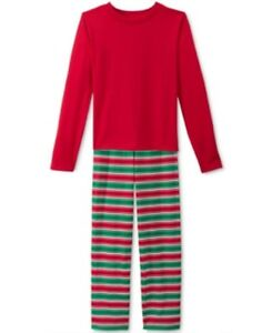 Family PJ's Unisex Boys or Girls Holiday Stripe Knit Pajama Set, Red/Green