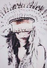 NATIVE INDIAN GIRL HEADDRESS * QUALITY CANVAS PRINT
