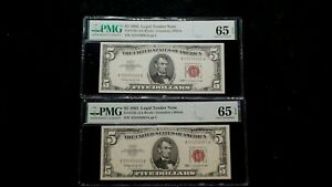 2 CONSECUTIVE 1963 FIVE DOLLAR PMG GEM UNC 65 EPQ RED SEAL NOTES $5 BILLS!