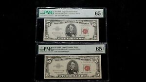 2 CONSECUTIVE 1963 FIVE DOLLAR PMG GEM UNC 65 EPQ RED SEAL NOTES $5 BILLS!
