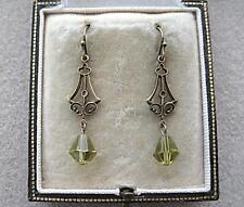 Elegant Vintage Inspired Olive Green Crystal Drop Earrings