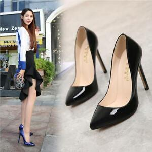 Spring Womens Solid High Heel Pointy Toe Patent Leather Pumps Stilettos OL Shoes