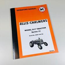 ALLIS CHALMERS D-17 SERIES III TRACTOR OWNERS OPERATORS MANUAL