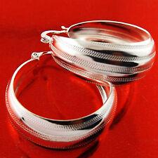 EARRINGS GENUINE REAL 925 STERLING SILVER S/F SOLID LADIES HOOP ITALIAN DESIGN