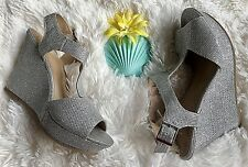 NEW Women's FIONI Cosmic Silver Glitter Sparkle Ankle Strap Wedge ~ Size 6.5M