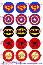 "15 Precut Super hero Symbol Shields Capt america, Flash  1"" Bottle Cap Images"