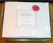 BELLORA MILANO 100% Cotton PERCALE Luxury Italian-King Sheet Set WHITE w/ White
