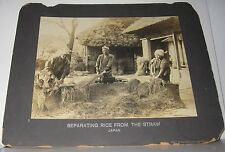 ANTIQUE PHOTO SEPARATING RICE FROM STRAW JAPAN STAMPED THE PHILADELPHIA MUSEUMS