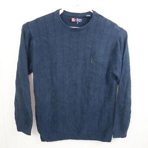 Ralph Lauren Chaps Mens Knit Sweater Size L Navy Blue Crew Neck Pullover Jumper