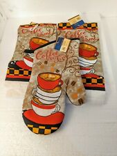 """New listing New Home """"Coffee Time"""" collection 2 Dish towels and 1 Oven Mitt Fast Shipping!"""
