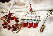 Mix Lot Tree Ornament Wreath & Red Rhinestone Shoe Photo Business Card Holders