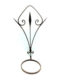 Antique Wrought Iron Metal Curved Unusual Flower Pot Holder Hanger Garden Decor