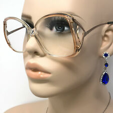 Vintage Luxottica Mirari Eyeglasses Clear & Pink Oversized Optical Glasses Italy