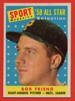 1958 Topps #492 Bob Friend EX-EXMINT+ WRINKLE Pittsburgh Pirates FREE SHIPPING