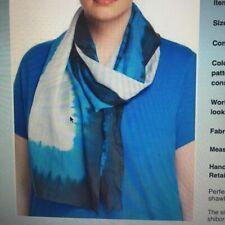 s MSRP $158  NWT Eileen Fisher Dip Tie-Dye Pattern Silk Scarf Catalina Blue