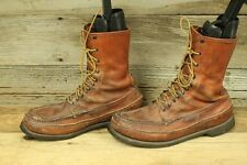 RUSSELL MOCASSIN CO. VTG MENS BROWN LEATHER MOC TOE FIELD SHOES SZ 10 C