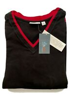 Denim & Co QVC V-Neck Shirt Black Red Trim Sz 2X Plus Size D & Co NEW