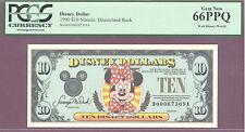 1990 $10 D Disney Dollars MINNIE: DISNEYLAND BACK PCGS 66 PPQ GEM NEW WDW