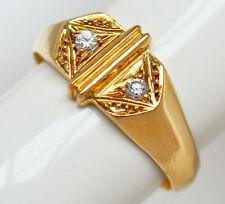 Antiker Damenring Herrenring 18 Karat 750 Gold 2,78 g Gelbgold rosa Saphire Gr56