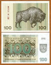 Lithuania, 100 Talonas, 1991, Pick 38 (38b), UNC > Bison
