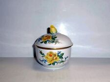 Meissen Gelbe Rose mit Vergissmeinnicht Zuckerdose 7,5 cm 020910 - 821