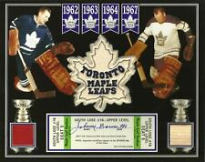 JOHNNY BOWER PHOTO W/ AUTO/SIGNED TICKET GAME USED STICK MAPLE LEAF GARDENS SEAT