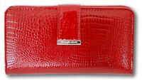 RFID Echt Leder Damengeldbörse Portemonnaie Lack-Kroko Kartenplatz Lederbörse