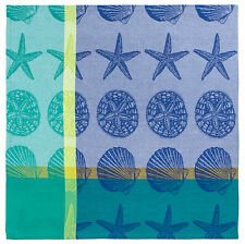 "100% Cotton Aqua Blue & Yellow 60""x60"" Jacquard Tablecloth - Sand Shells White"