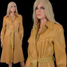 Vintage 70s Mod-Maid PVC Vinyl TRENCH COAT Tan Vegan Leather Retro Hippy Western