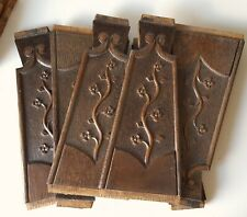 Set 6 antique floral decorative carving Panel Appliques Architectural salvage
